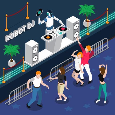 Robot DJ och dansande människor på fest