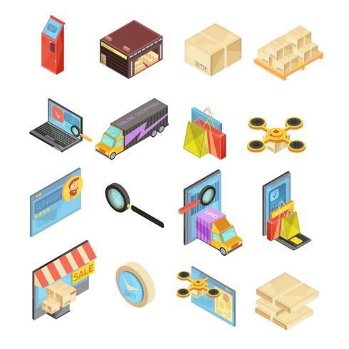 Conjunto isométrico de tienda de internet
