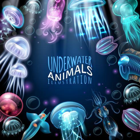 Onderwater dieren Frame achtergrond