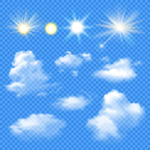 Sun And Clouds Set vector