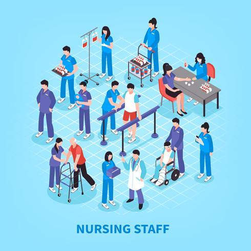 Cartaz isométrico do fluxograma das enfermeiras do hospital vetor