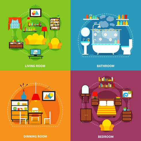 Conjunto de iconos de concepto interior vector