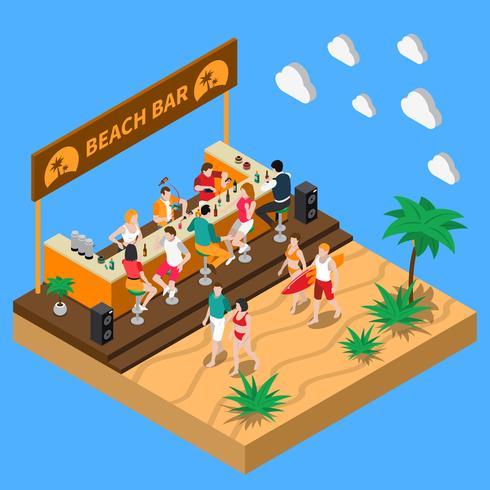 Composizione isometrica Beach Bar vettore