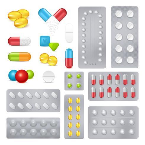 Geneeskunde pillen capsules Realistische afbeeldingen instellen vector