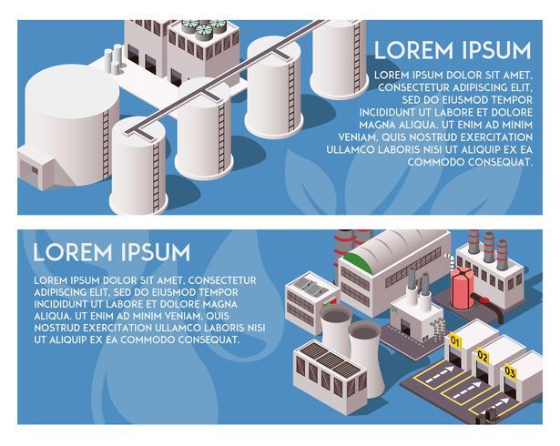 Isometrische fabrieksbanners