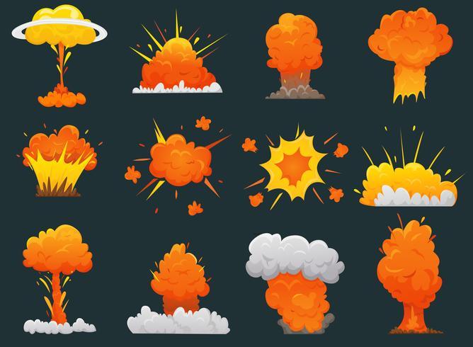 Jeu d'icônes d'explosion rétro bande dessinée vecteur