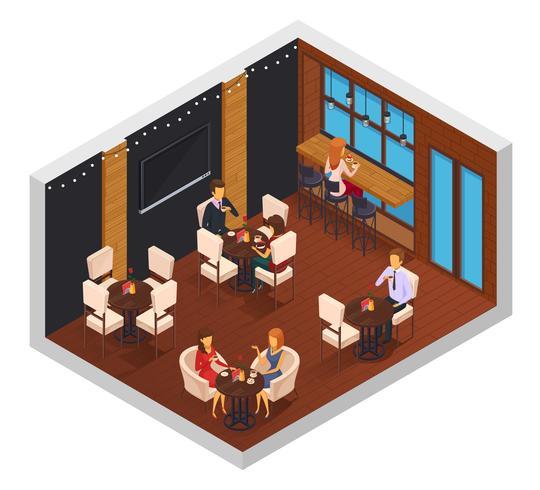 Cafe Restaurant Isometrisk Inredning vektor
