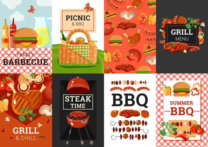 BBQ Barbecue Picnic Banners Set vector