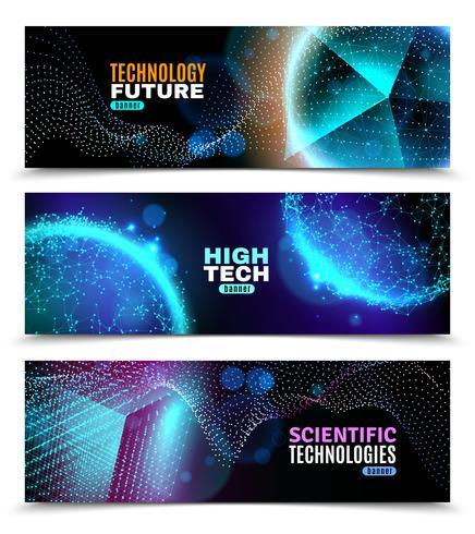 Conjunto de Banners de formas geométricas luminescentes