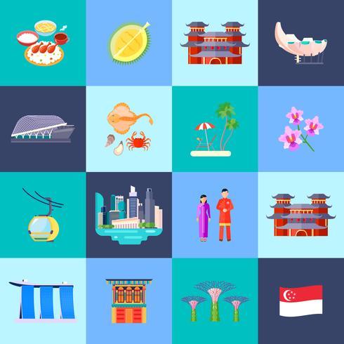 Jeu d'icônes plat de culture de Singapour vecteur
