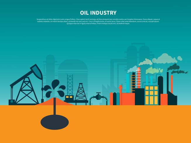 Oil Industry Flat Background vector