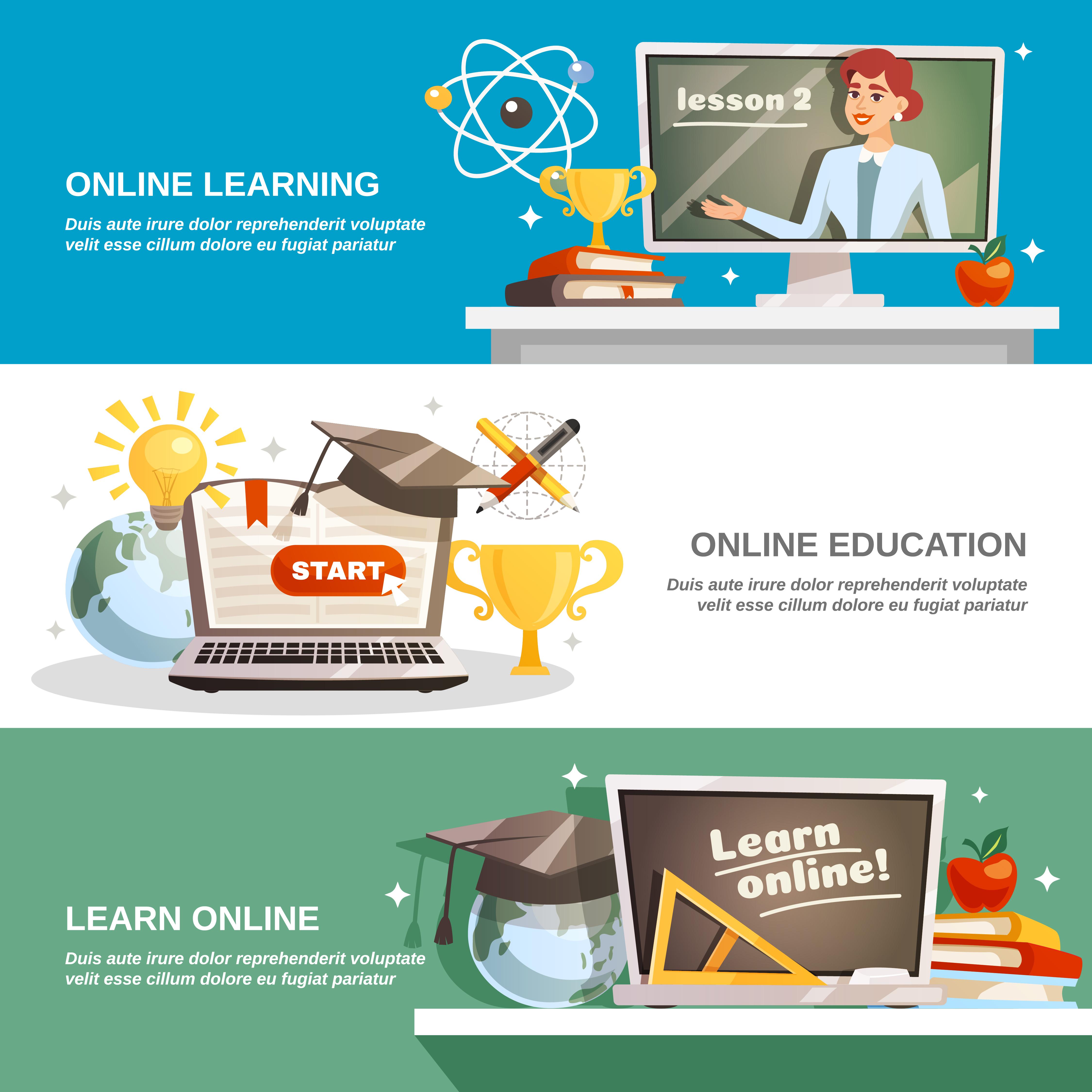 Online Education Horizontal Banners Download Free Vectors Clipart Graphics Vector Art