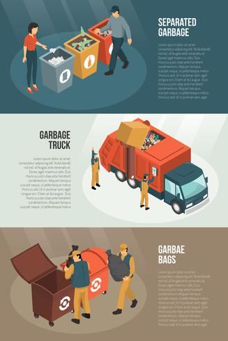 Isometric Garbage Recycling Horizontal Banner Set vector