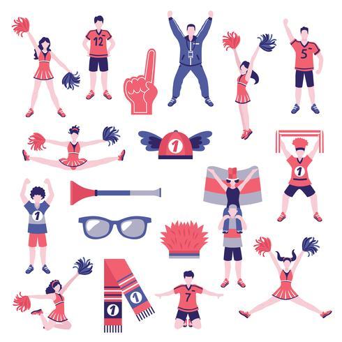 Colección de iconos planos de partidarios de los aficionados