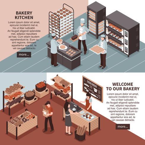Bannières isométriques de boulangerie et de magasin de boulangerie