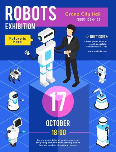 Affiche isométrique de l'exposition de robots