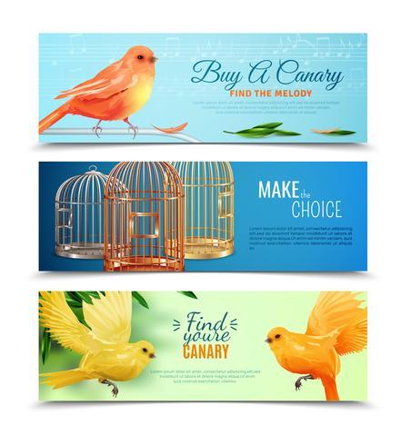 Kanarie- och fågelburkar Banners Set