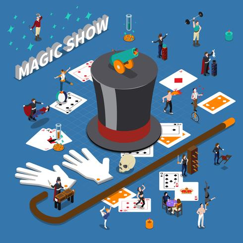 Magic Show Isometric Composition vector