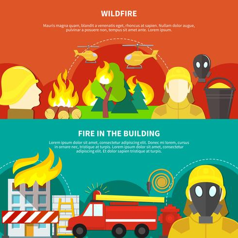 Firefighting Banners Set vector