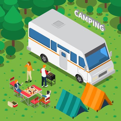 Composizione isometrica in campeggio vettore
