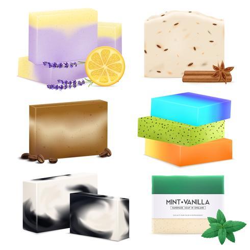 Conjunto realista de sabonete artesanal natural