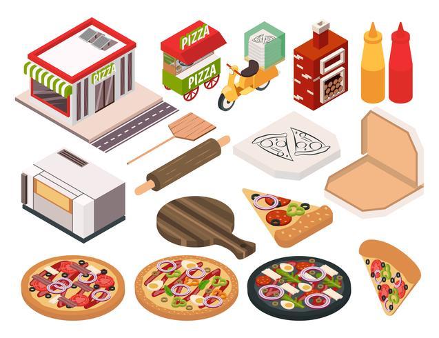 Conjunto de iconos isométricos pizzería