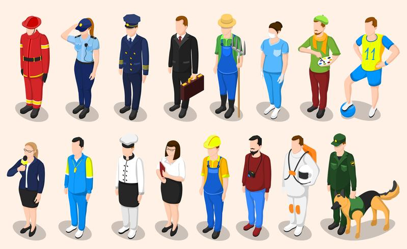 Berufe isometrische Leute eingestellt
