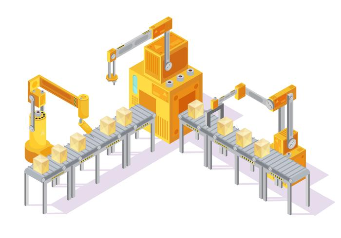 Illustration isométrique du système de convoyage vecteur