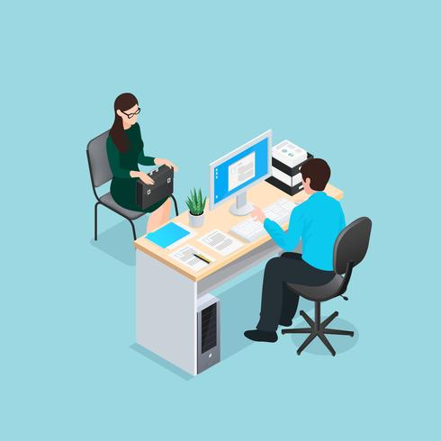 entrevue d'emploi illustration isométrique vecteur