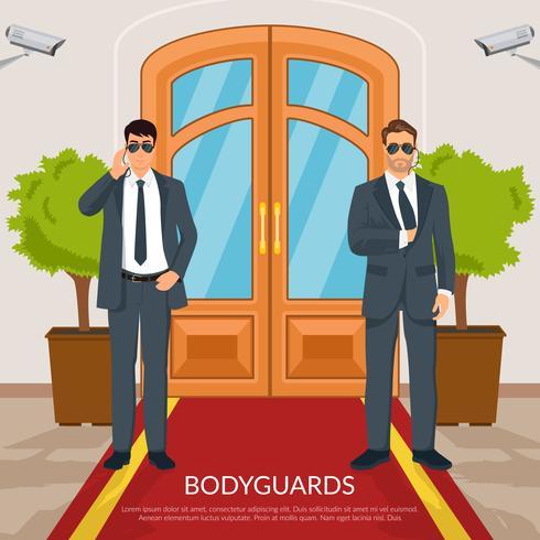 Illustration de garde du corps à la porte vecteur