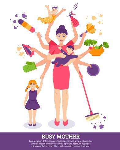 Ilustração do conceito de mãe ocupada