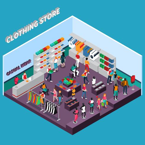 Clothing Store With Mannequins Isometric Composition vector
