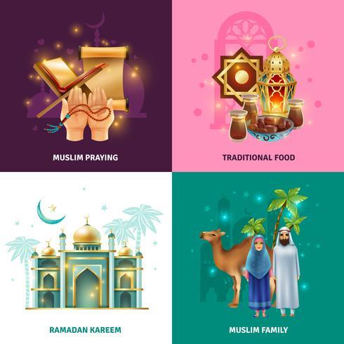 Ramadán tradiciones concepto 4 iconos cuadrados