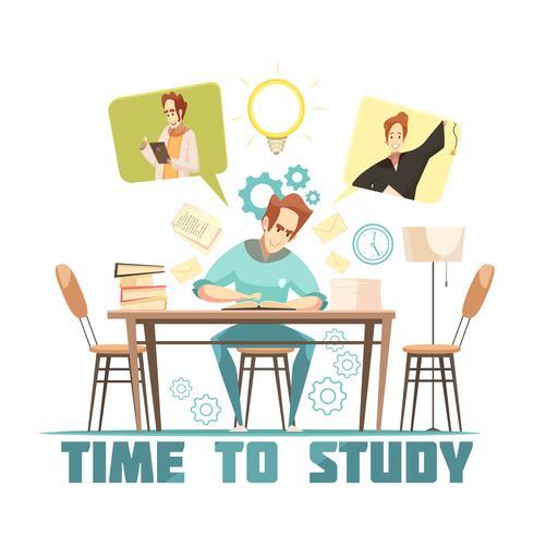 Estudiante pensando en el concepto de diseño de libro