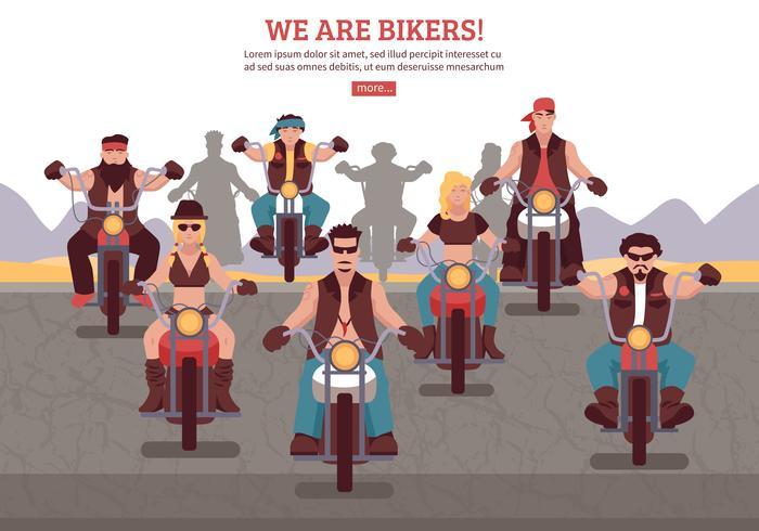 Ilustração de fundo de motociclistas