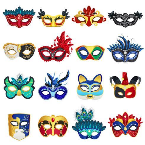 Conjunto de máscaras de carnaval veneziano vetor