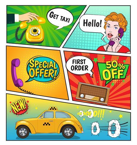 Reklam av Taxi Comic Book Page
