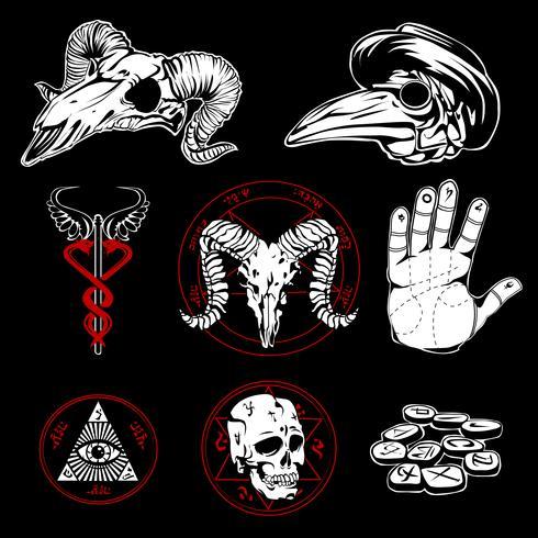 Handdragen esoteriska symboler och oäkta attribut