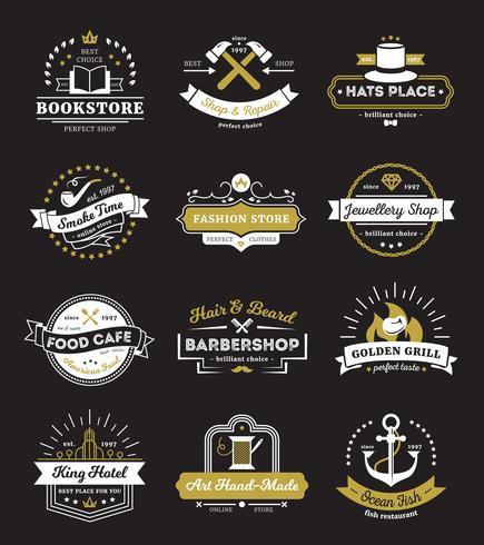 Boutiques d'hôtel et café Vintage Logos