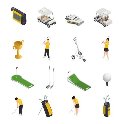 Icone isolate isometriche colorate golf vettore