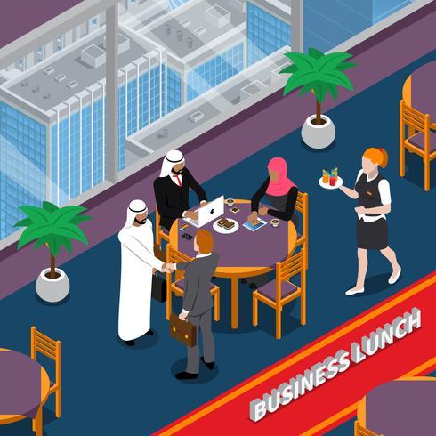 Ilustración isométrica del almuerzo de negocios de las personas árabes