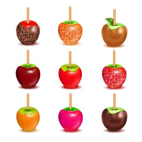 Conjunto de variedade de maçãs doces de caramelo