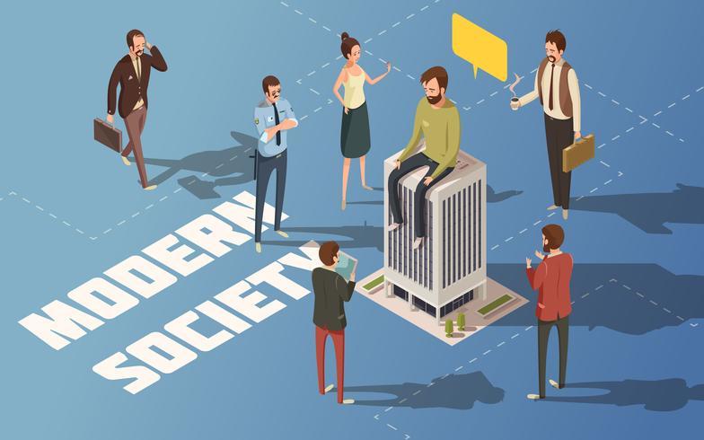 People Society Isometric Illustration