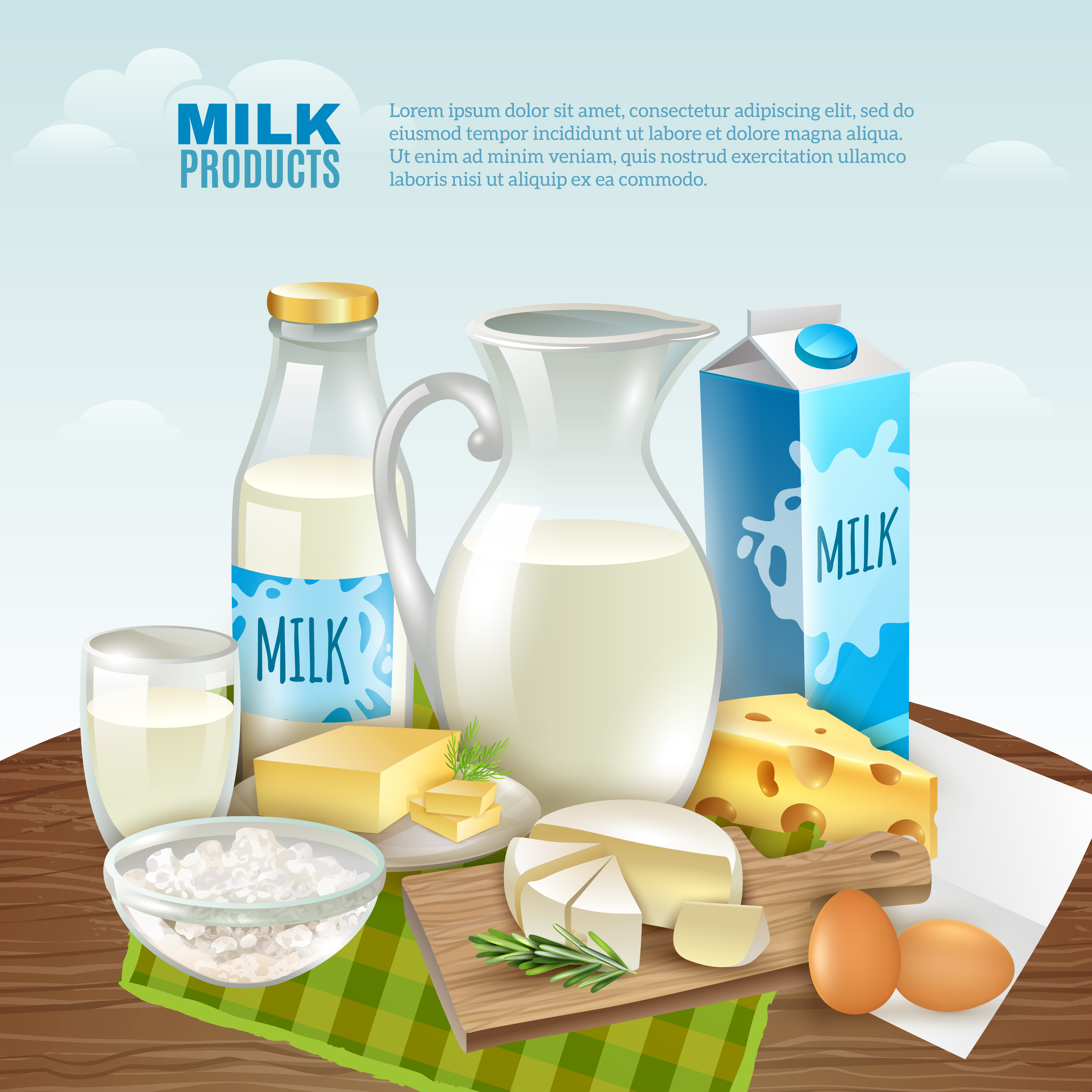 Milk Products Background Vector