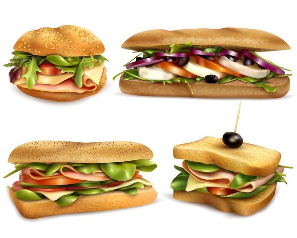 Sándwiches de ingredientes frescos saludables conjunto realista vector