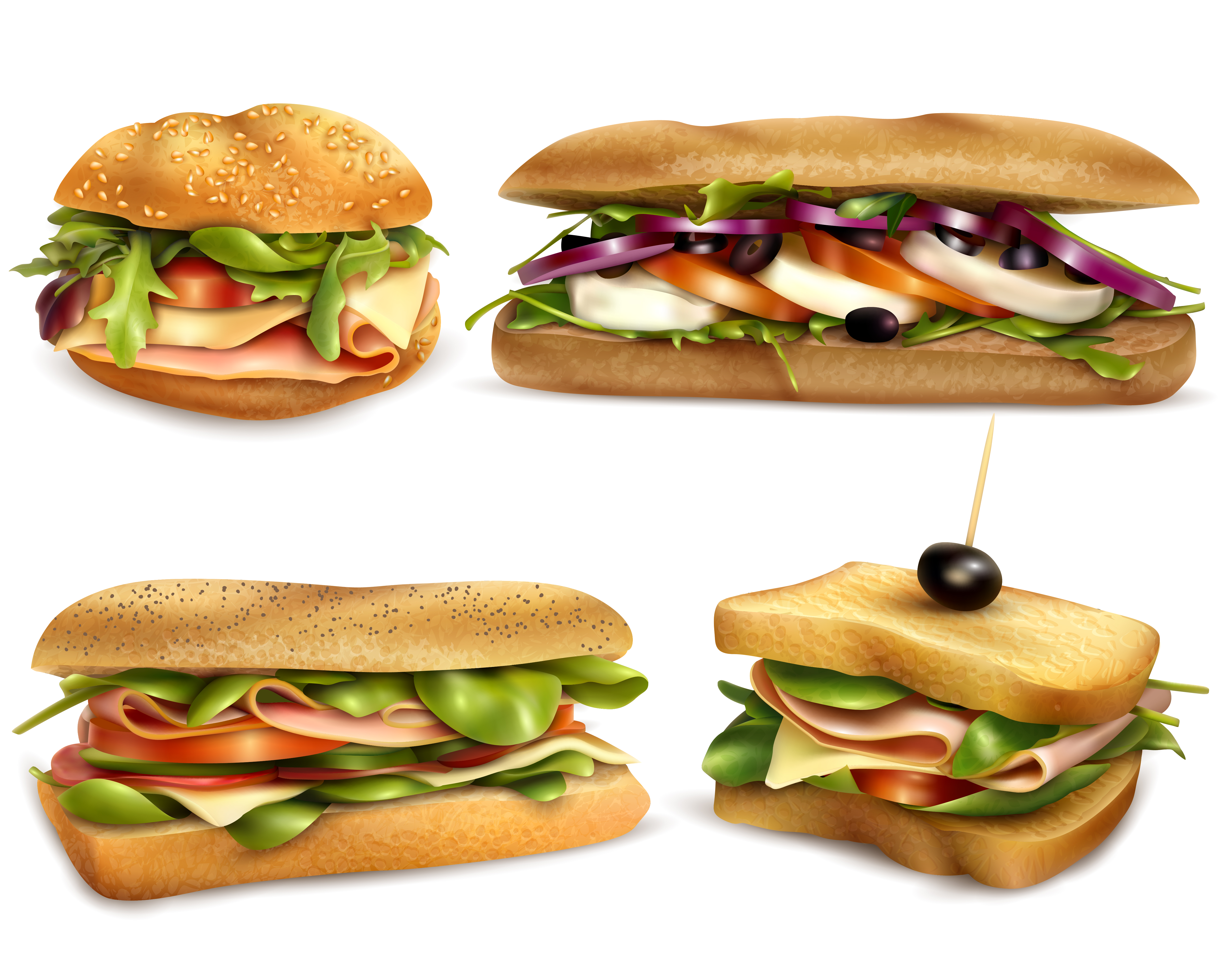 Healthy Fresh Ingredient Sandwiches Realistic Set ...