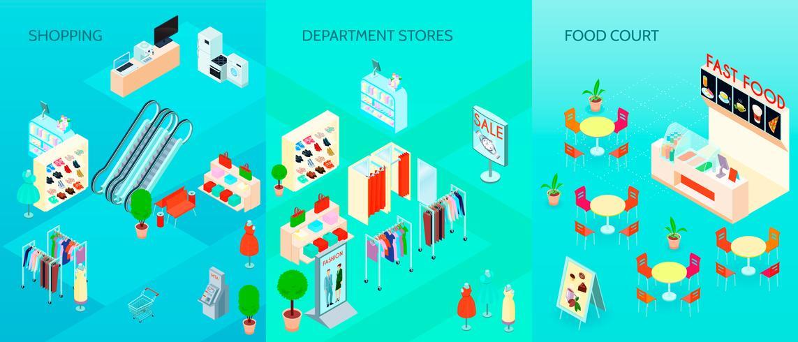 Einkaufszentrum-isometrische Fahnen eingestellt