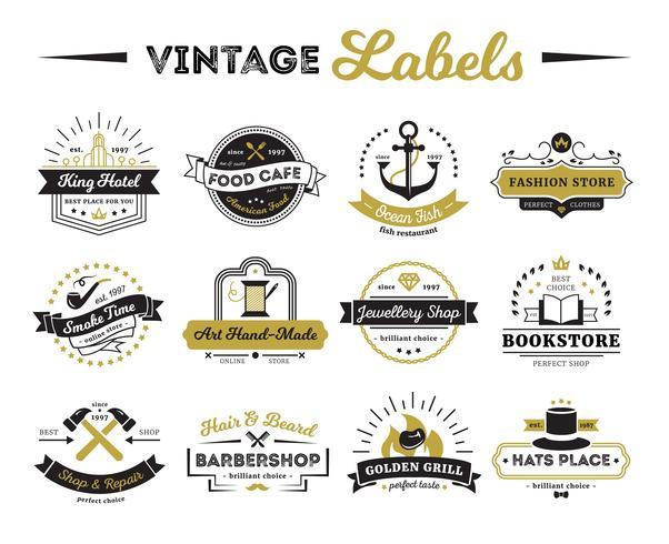 Shops und Cafe Vintage Labels