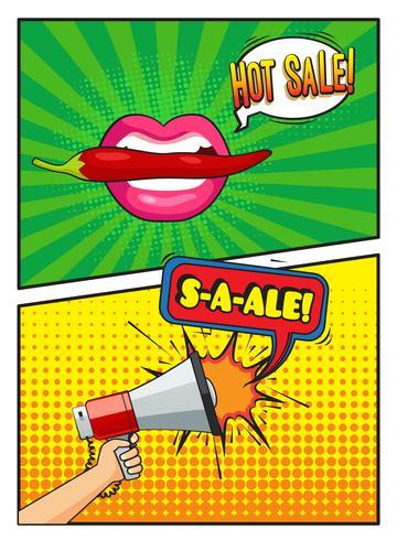 Composizione stile fumetti di vendita