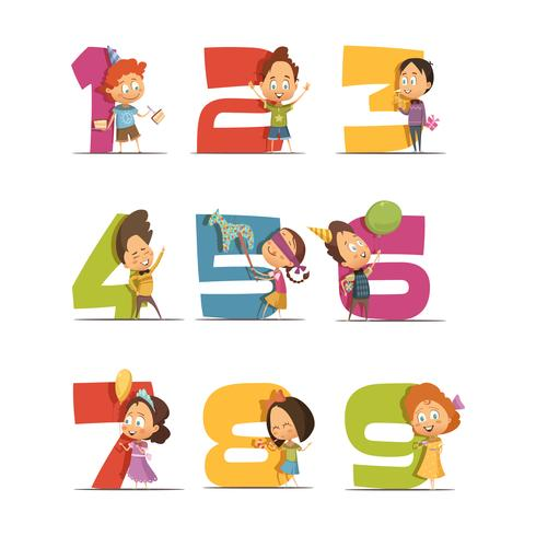 fiesta infantil set de iconos retro